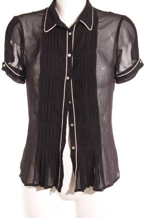 Zara Basic Kurzarm-Bluse schwarz-nude Elegant