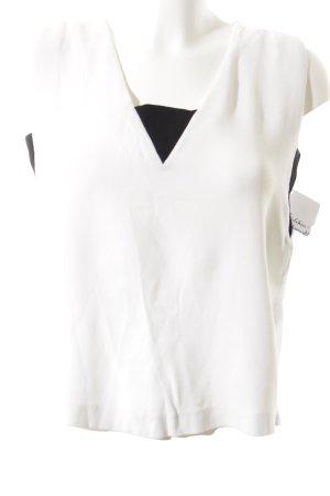 Zara Basic Kurzarm-Bluse weiß-schwarz grafisches Muster Casual-Look