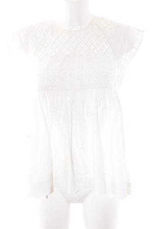 Zara Basic Kurzarm-Bluse wollweiß Blumenmuster Hippie-Look