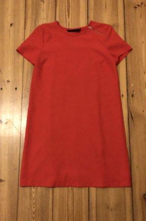 Zara Basic / Kurzarm-Kleid / Hellrot / Sehr guter Zustand