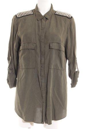 Zara Basic Shirt met korte mouwen khaki militaire uitstraling