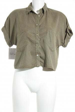 Zara Basic Kurzarmhemd khaki-olivgrün Military-Look