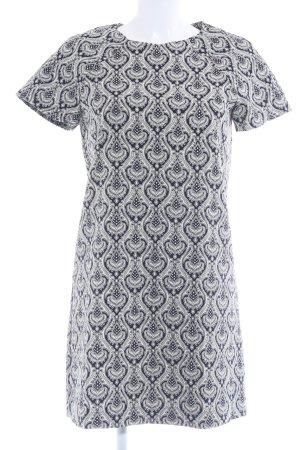 Zara Basic Kurzarmkleid creme-dunkelblau Casual-Look