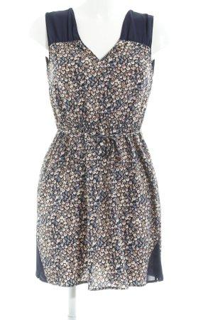 Zara Basic Jurk met korte mouwen donkerblauw-room volledige print Beach-look