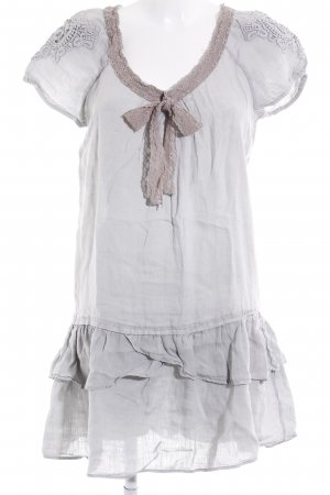 Zara Basic Kurzarmkleid hellgrau-hellbraun Romantik-Look