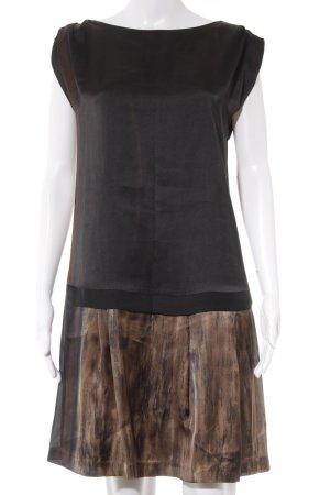 Zara Basic Kurzarmkleid schwarz-bronzefarben Business-Look