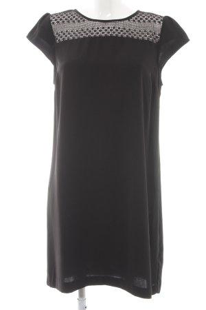 Zara Basic Kurzarmkleid schwarz grafisches Muster Elegant