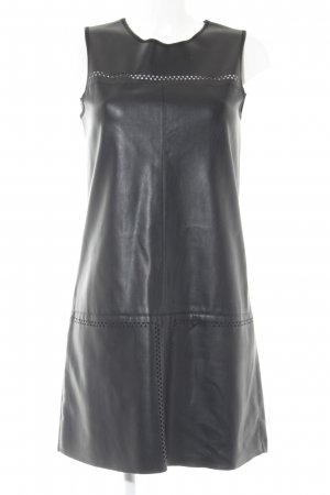 Zara Basic Kurzarmkleid schwarz grafisches Muster Party-Look