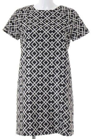 Zara Basic Kurzarmkleid schwarz-weiß abstraktes Muster Casual-Look