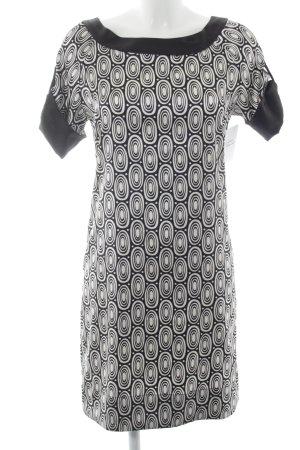 Zara Basic Kurzarmkleid schwarz-weiß grafisches Muster Business-Look