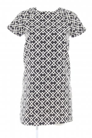 Zara Basic Kurzarmkleid schwarz-weiß grafisches Muster Elegant