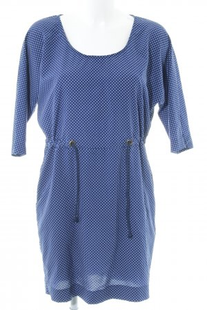 Zara Basic Kurzarmkleid stahlblau-weiß Punktemuster Beach-Look