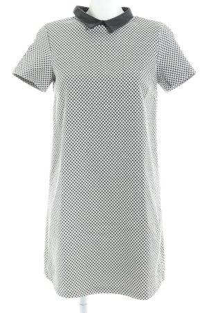Zara Basic Kurzarmkleid weiß-schwarz Hahnentrittmuster Elegant