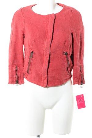 Zara Basic Chaqueta corta rojo Patrón de tejido look casual