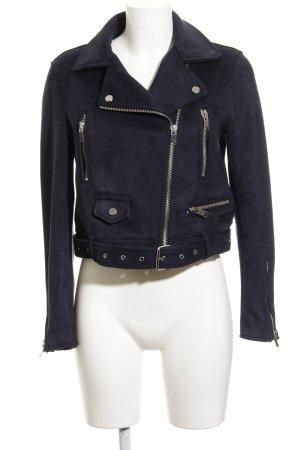 Zara Basic Kurzjacke dunkelblau Biker-Look