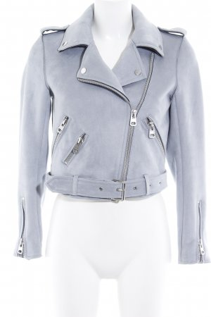 Zara Basic Kurzjacke graublau Casual-Look