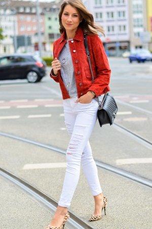 Zara Basic Kurzjacke karminrot Casual-Look
