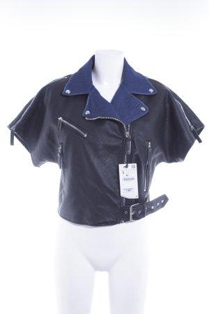 Zara Basic Kurzjacke schwarz-dunkelblau Street-Fashion-Look