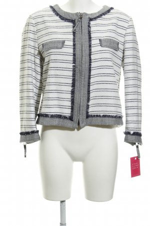 Zara Basic Short Jacket white-dark blue striped pattern simple style