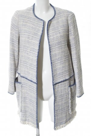 Zara Basic Abrigo corto blanco-azul moteado estilo «business»