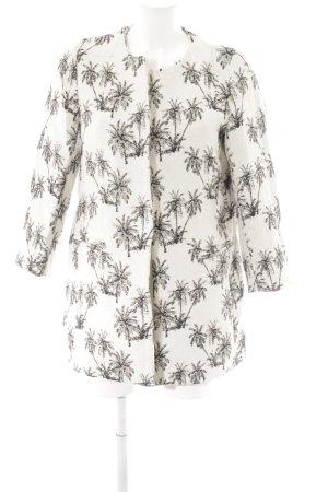 Zara Basic Kurzmantel creme-schwarz Monogram-Muster Casual-Look