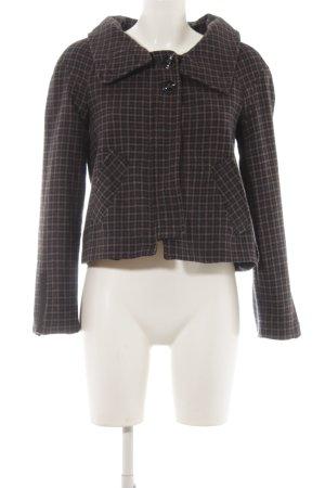 Zara Basic Korte Jas donkerblauw-grijs-bruin geruite print casual uitstraling