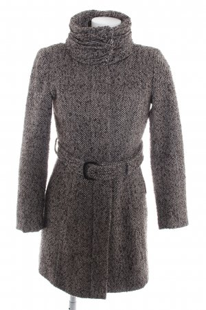 Zara Basic Kurzmantel schwarzbraun-wollweiß Fischgrätmuster Business-Look