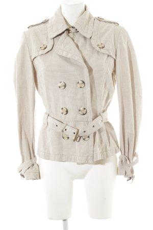 Zara Basic Kurzmantel wollweiß-beige Streifenmuster Casual-Look