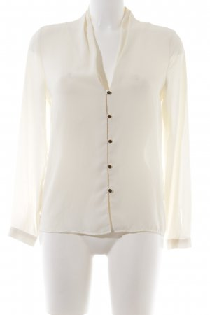 Zara Basic Langarm-Bluse creme Business-Look