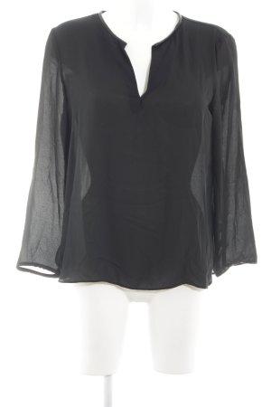 Zara Basic Blouse met lange mouwen zwart casual uitstraling