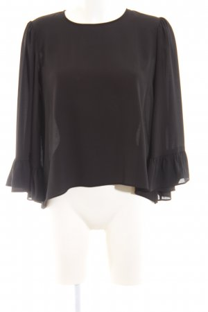 Zara Basic Langarm-Bluse schwarz Business-Look