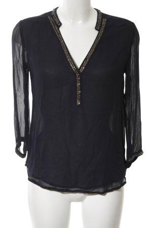 Zara Basic Blouse met lange mouwen zwart zakelijke stijl
