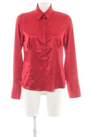 Zara Basic Langarm-Bluse rot Glanz-Optik