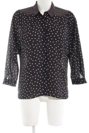 Zara Basic Langarm-Bluse schwarz-nude Punktemuster Business-Look