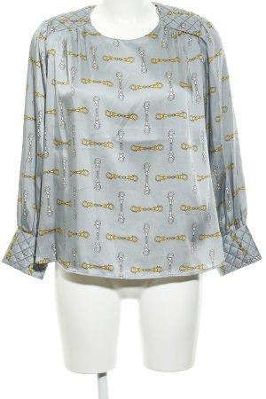 Zara Basic Langarm-Bluse Allover-Druck schlichter Stil