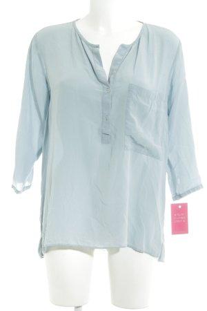 Zara Basic Langarm-Bluse blassblau Business-Look