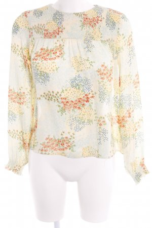 Zara Basic Langarm-Bluse blassblau-limettengelb abstraktes Muster Casual-Look