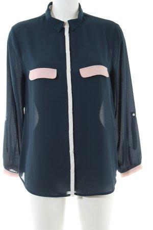 Zara Basic Langarm-Bluse blau-pink Casual-Look