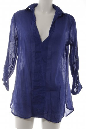 Zara Basic Langarm-Bluse blau Street-Fashion-Look