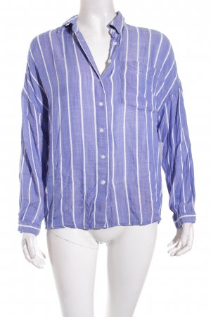 Zara Basic Langarm-Bluse blau-weiß Streifenmuster Casual-Look