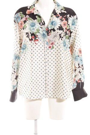 Zara Basic Langarm-Bluse Blumenmuster extravaganter Stil
