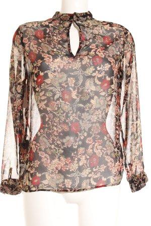 Zara Basic Langarm-Bluse Blumenmuster Romantik-Look