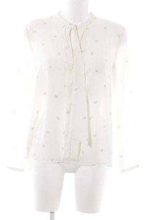 Zara Basic Langarm-Bluse creme Ornamentenmuster Casual-Look