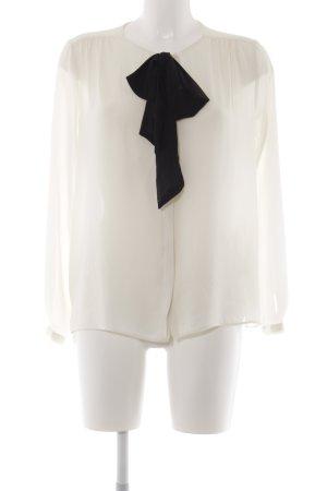 Zara Basic Langarm-Bluse creme-schwarz Elegant