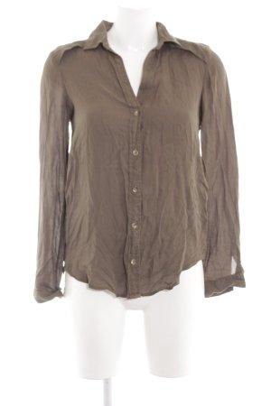 Zara Basic Langarm-Bluse braun Casual-Look