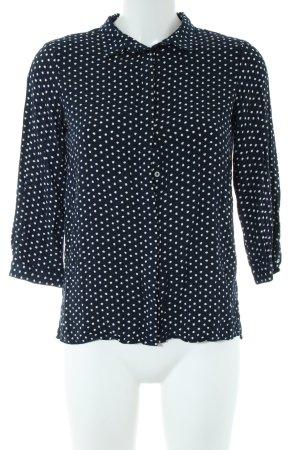 Zara Basic Langarm-Bluse schwarz-weiß Allover-Druck Casual-Look
