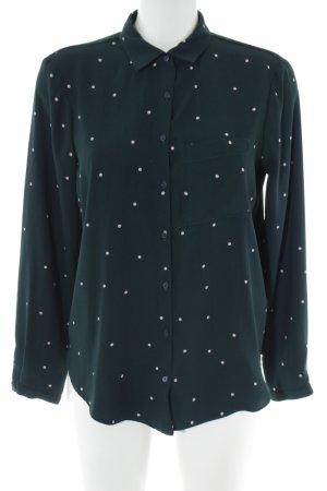 Zara Basic Langarm-Bluse schwarz-weiß Punktemuster Casual-Look