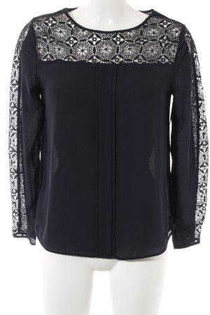 Zara Basic Langarm-Bluse dunkelblau Casual-Look