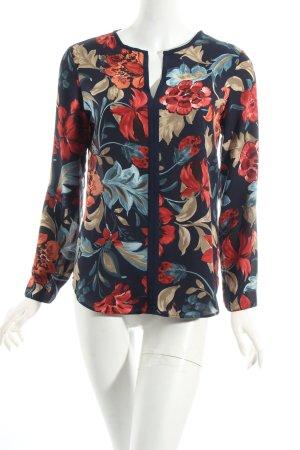 Zara Basic Langarm-Bluse dunkelblau-rot florales Muster Casual-Look