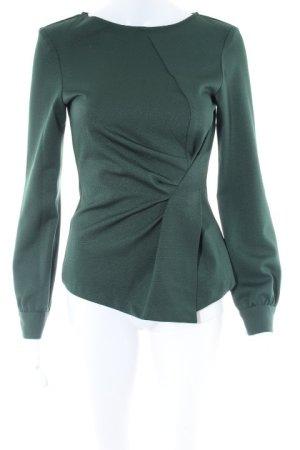 Zara Basic Langarm-Bluse dunkelgrün Business-Look